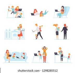 Collection of Parents Working with Their Children While Their Playing Next to Them, Mothers and Fathers Working with Children, Businesspeople Vector Illustration