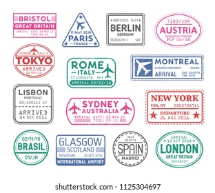 Collection of passport visa stamps isolated on white background. Bundle of travel or touristic marks. Set of round, rectangular and triangular journey or trip markings. Colorful vector illustration.