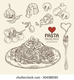 Collection of pasta, folk with pasta, vegetables, cheese and champignon. hand drawn
