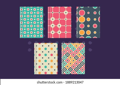 Collection of Pastel E-book Cover Templates , Retro, vintage, 1980s, 1960s, soft colors swatch color, Calming Colors, notebook, diary report, design.Vector Templates