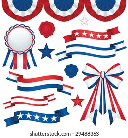 Collection of patriotic emblems, including banners, ribbons, and bunting in traditional red, white and blue; file contains unexpanded blends and clipping paths.