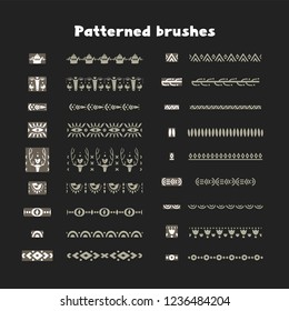 Collection of patterned brushes, decorated with scandinavian folk ornaments, seamless on both sides, .