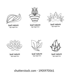 collection of patterned leaf logos with black outline