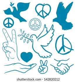 Collection of peace and love themed icons with white doves flying carrying olive branches, v-sign hand gesture, handshake of friendship, hearts, a cupped nurturing hand and v-sign antiwar icon