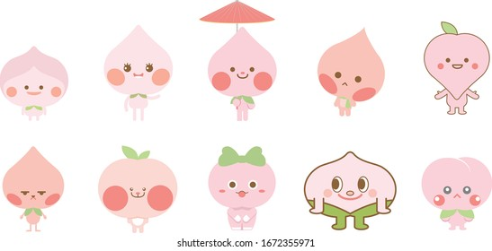 Collection of Peach mascot. Set of cartoon peach mascot. Isolated Vector Illustration on white background.