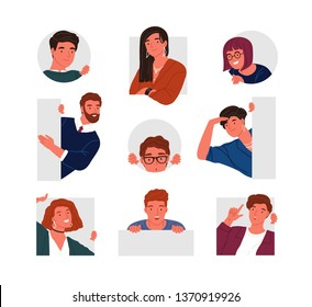 Collection of peeping people isolated on white background. Set of portraits of funny curious young men and women searching something. Bundle of design elements. Flat cartoon vector illustration.