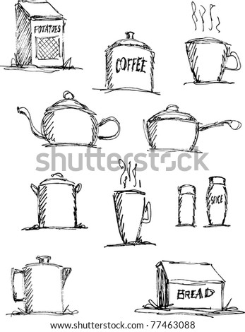 Collection Pen Ink Style Drawings Items Stock Vector Royalty Free
