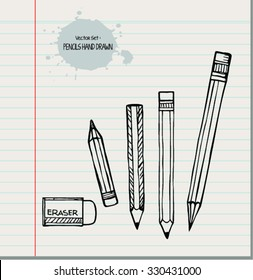 Collection of pencils. vector set in doodle style