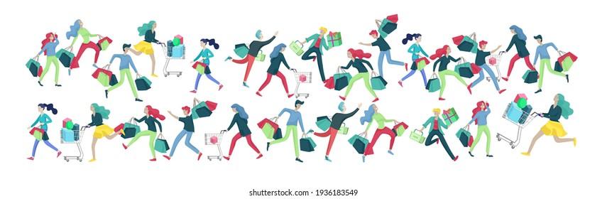 Colección de personas llevando bolsas de compras. Locura a la venta, línea de locos Hombres y mujeres participando en la venta estacional en tienda, tienda, centro comercial. Personajes de dibujos animados