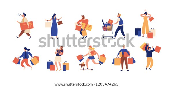 Collection of people carrying shopping bags with purchases. Men and women taking part in seasonal sale at store, shop, mall. Cartoon characters isolated on white background. Flat vector illustration.