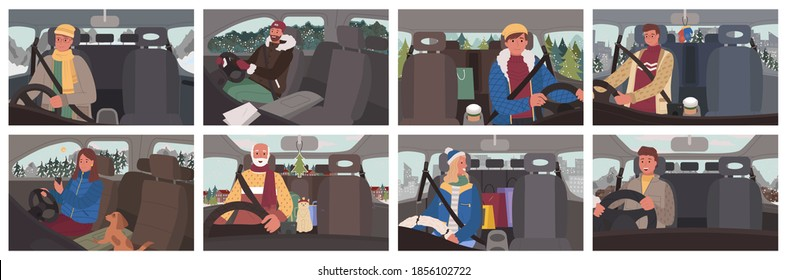 Collection of people in cars traveling in winter. Road trip of man and woman using navigator to find right way. Senior male driving vehicle with cat at backseat. Holidays season travelers vector