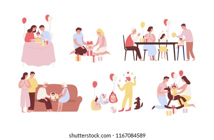 Collection of people celebrating first birthday of their baby. Bundle of family party scenes with infant child opening gifts, eating cake, having fun during celebration. Cartoon vector illustration.