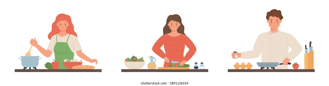 Collection of people cooking at home. Collection of cartoon man and woman preparing food. Cartoon character flat vector illustration.
