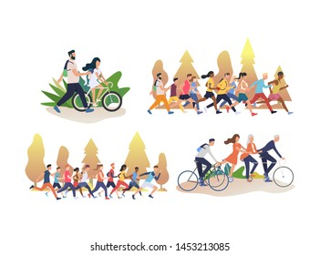Collection of people cycling and running. Group of men and women actively spending weekend in park. Flat colorful vector illustration for presentation, leaflet, poster