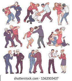 Collection of people during fight action, set of angry men and women in physical conflict, punching, hitting, threatening each other. Violence themed isolated vector illustration on white background.