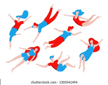 Collection of people flying, dreaming, concept illustration in flat design. Various people, men and women in creative poses isolated on white background. Colorful vector illustration in cartoon style.