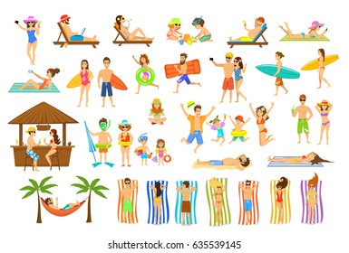 Collection of people have fun on summer time beach vacation. Man, woman, family  couple kids relax sunbath, tan, make selfie, work on pc, drink cocktail bar, lying on sun chair, towel, hammock sand