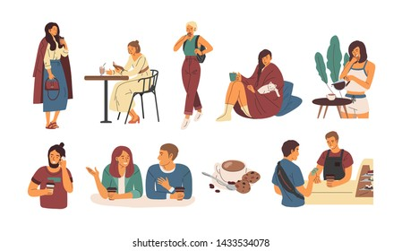 Collection of people with hot beverage isolated on white background. Set of cute men and women walking, sitting at cafe table or at home and drinking coffee. Flat cartoon colorful vector illustration.