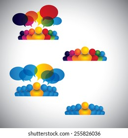 collection of people icons of leadership, friendship - vector concept. this also represents social media communication, internet or web chat, social networking & interaction, online community, forums