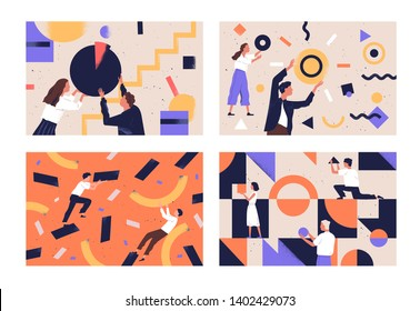 Collection of people organizing abstract geometric shapes scattered around them. Bundle of young men and women collecting figures. Concept of teamwork. Flat vector illustration in contemporary style.