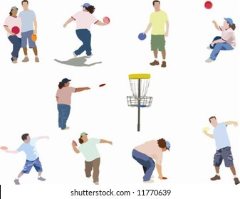 Collection of people playing disc golf