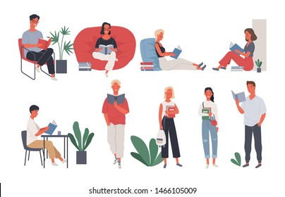 Collection of people reading or students studying. Group of women and man reading book standing and sitting on chair. Vector illustration in a flat style