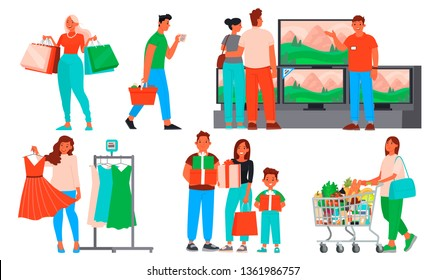 Collection of people shopping. Men and women buy clothes and groceries, gifts and household appliances in shops and malls. Seasonal sale and big discounts. Vector illustration in flat style