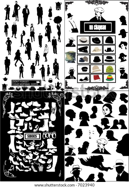 Collection of People silhouette - vector shoes, heads - abstract background