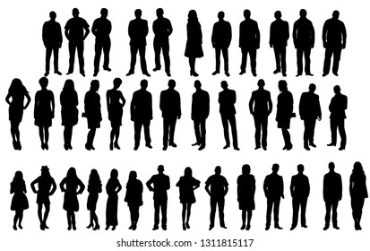 collection of people silhouettes, crowd isolated
