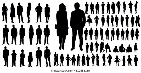 Collection of people silhouettes, vector illustration