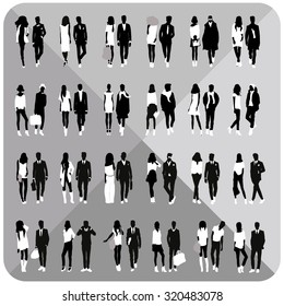 Collection of people silhouettes vector.Group of people silhouette isolated on white background.Editable.Set of silhouettes vector.Vector eps.