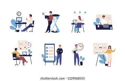 Collection of people successfully organizing their tasks and appointments. Set of scenes with efficient and effective time management and multitasking at work. Flat cartoon vector illustration.