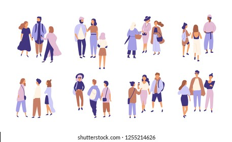 Collection of people talking or chattering to each other. Bundle of groups of men and women having conversation or dialog. Friendly communication. Colored vector illustration in flat cartoon style.