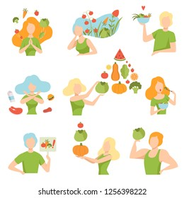 Collection of people with vegetables and fruits, healthy lifestyle, diet, organic vegan food vector Illustration
