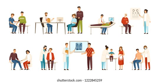 Collection of people visiting various doctors or physicians - therapist, gastroenterologist, ophthalmologist, neurologist, otolaryngologist, surgeon, pediatrician, dermatologist. Vector illustration.