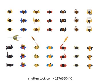 Collection of people walking dog on leash, looking at smartphone, riding bicycle or bike isolated on white background. Top or view from above. Colorful vector illustration in flat cartoon style.