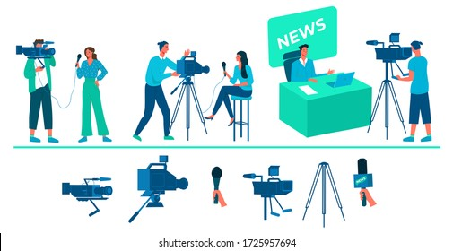 A collection of people who shoot news, television reports. Professional video cameras and microphones, shooting equipment. TV presenters and TV operators. Flat vector illustration concept.