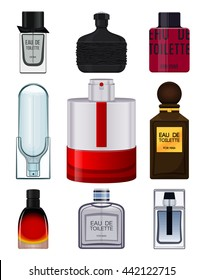 Collection perfume bottle on white background for men.