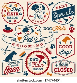 Collection of Pet Hair Salon and Store Badges in Vintage Style. Vector Design Elements