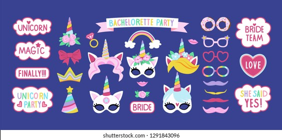 Collection of photo booth props for bachelorette unicorn party. Cute vector cartoon masks, glasses, speech bubbles, and other elements for funny photos.