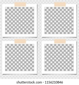 Collection of photo frame with adhesive tape. Vector template for your trendy photo or image