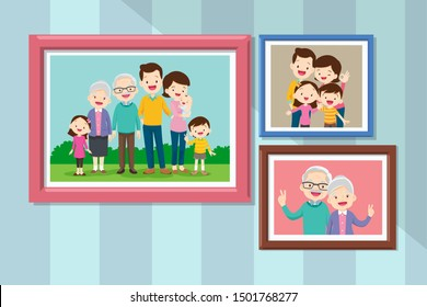 Collection of photos of family members in frames. Bundle of framed wall pictures or photographs with smiling people.Grandmother and grandfather in photo frame together.
