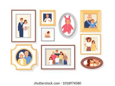 收集照片的家庭成员或亲戚和事件的框架。 捆绑的墙壁图片或照片与他们描绘微笑的人。 彩色卡通矢量插图。