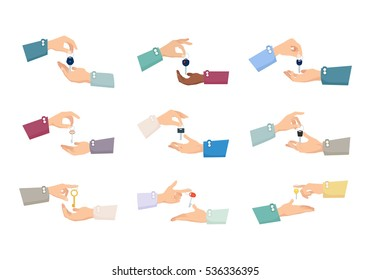 Collection of pictures with hands holding different kinds of keys. Various positions of fingers. Hands passings keys. Sale process. Realization. Purchase. Cartoon design. Flat style. Vector.