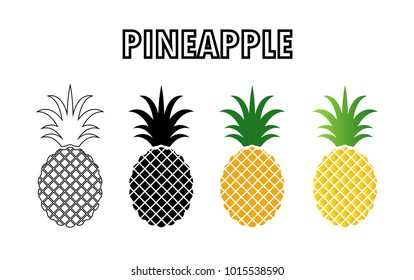 collection of pineapple icon isolated on white background.