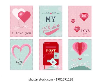 Collection of pink, black, white colored Valentine s day card. Vector illustration with realistic Valentine s Day attributes and symbols. Brochures design for promo flyers