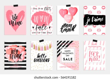 Collection of pink, black, white colored Valentine's day, World kiss day card, sale and other flyer templates with lettering Typography poster, card, label, banner design set Vector illustration EPS10