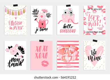 Collection of pink, black, white colored Valentine's day card,World kiss day sale and other flyer templates with lettering. Typography poster, card, label, banner design set. Vector illustration EPS10