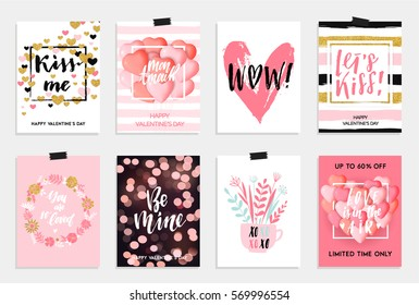 Collection of pink, black, white colored Valentine's day card, sale and other flyer templates with lettering. Typography poster, card, invitation, label, banner design set. Vector illustration EPS10