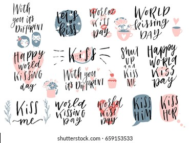 Collection of pink,red, black, white colored Kiss day, valentine's day hand drawn lettering. Perfect for typography poster, card, label, banner design set. Vector illustration EPS10.
